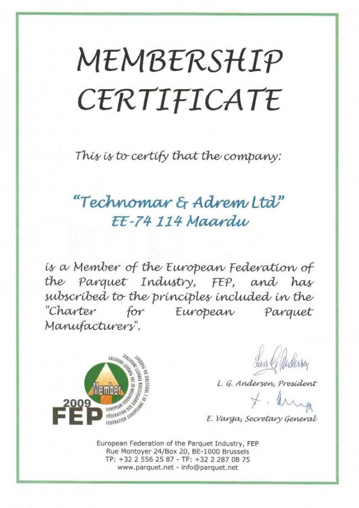 certificate_estaparket_technomar_fep_cetificate